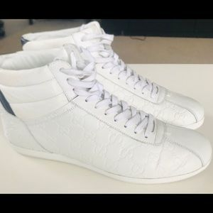 Gucci White Leather High Top Sneaker